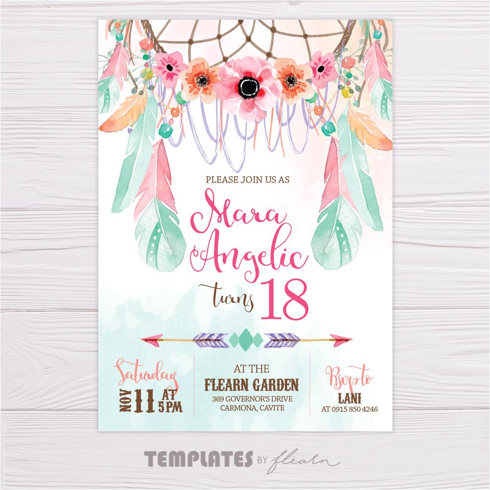 bohemian invitation bohemian printable bohemian template dreamcatcher pink green floral feather birthday printable invite