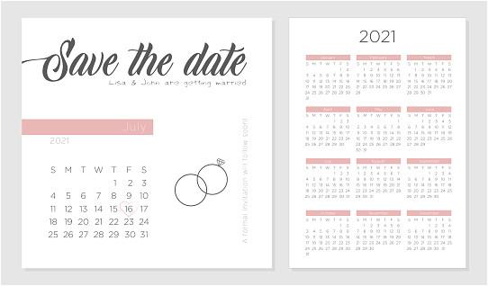 save the date retro wedding invitation calendar 2021 template design gm1149066830 310530471
