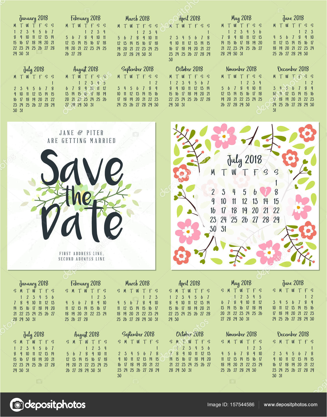 stock illustration save the date wedding invitation