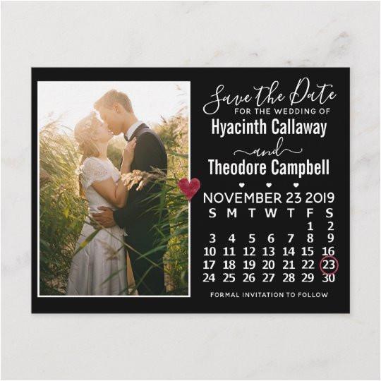 wedding save the date november 2019 calendar photo invitation postcard 256902730120663102