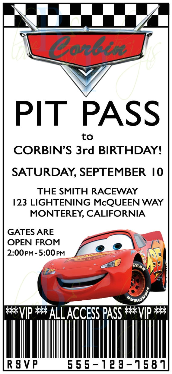 cars pit pass birthday invitation