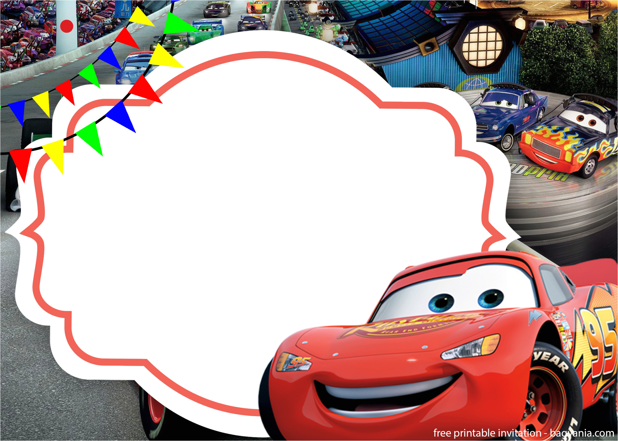 free the cars 3 with photo invitation template