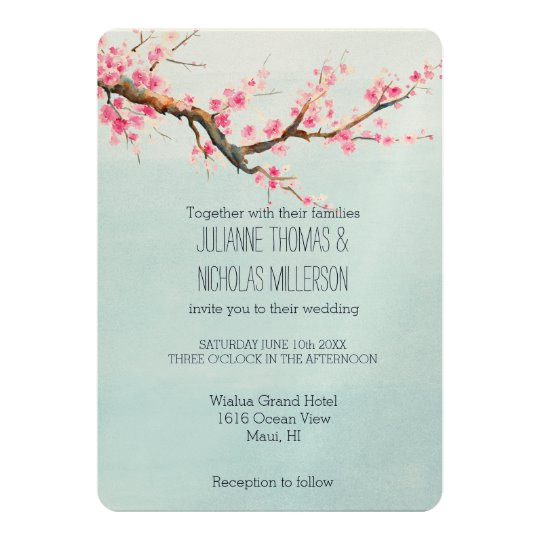 Cherry Blossom Wedding Invitation Template Cherry Blossom Flowers Wedding Invitation Zazzle Com