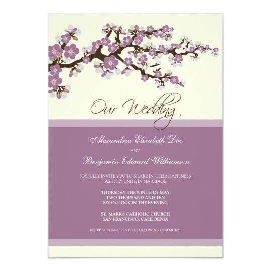 cherry blossom wedding invitation purple 161674489400919538