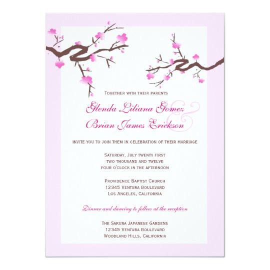 cherry blossom wedding invitations 161792037873958201