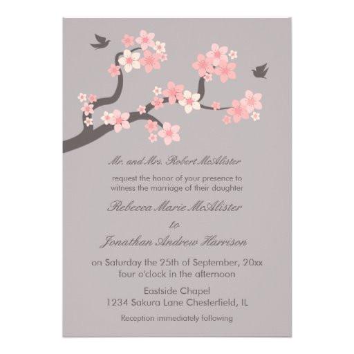 cherry blossoms pink grey wedding invitation 161029929055730269