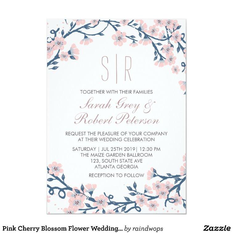 pink cherry blossom flower wedding invitation 256282596727788546