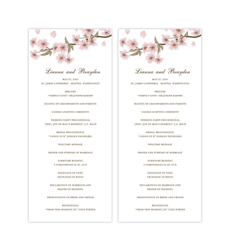 slim wedding program cherry blossom