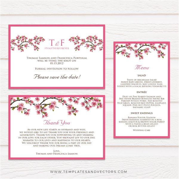 cherry blossom branches wedding invitation tvw059