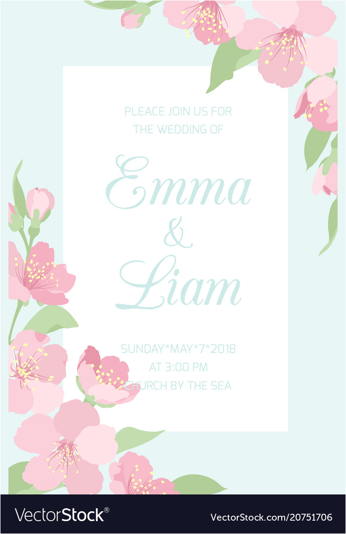 wedding invitation template cherry sakura blossom vector 20751706