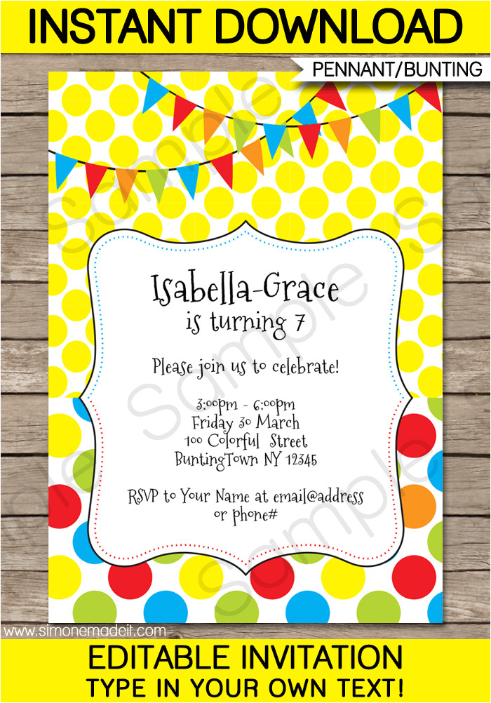 colorful bunting invitations birthday party