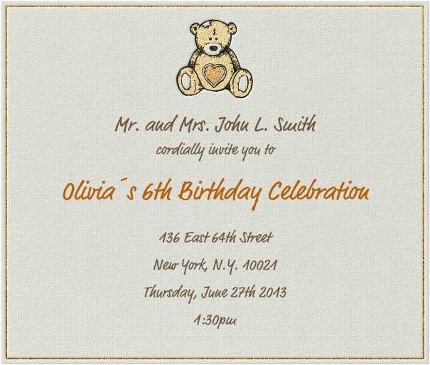 Children's Birthday Invitation Template Hearty Bear Children 39 S Birthdays