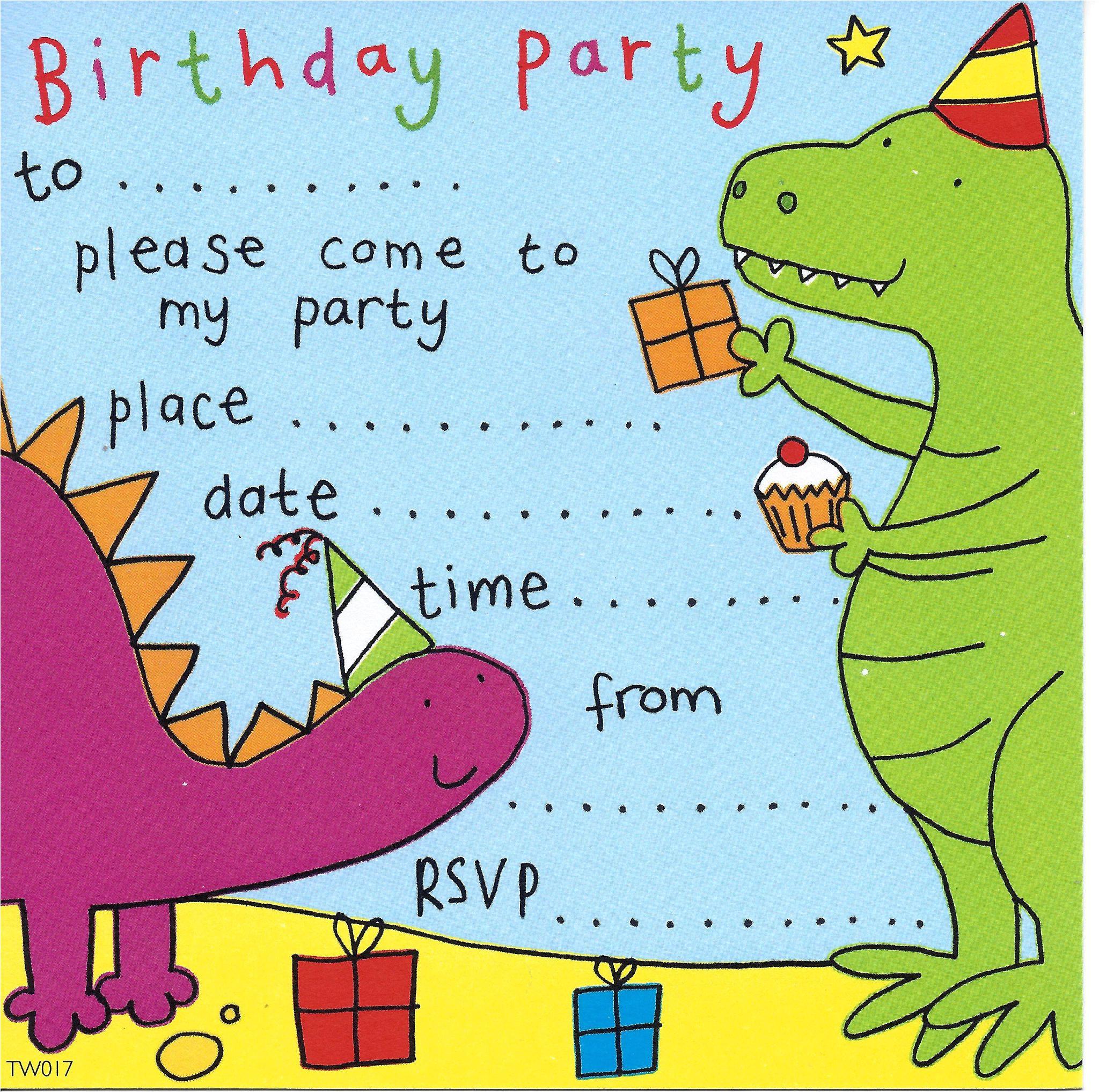 dinosaur childrens party invitation 4 p