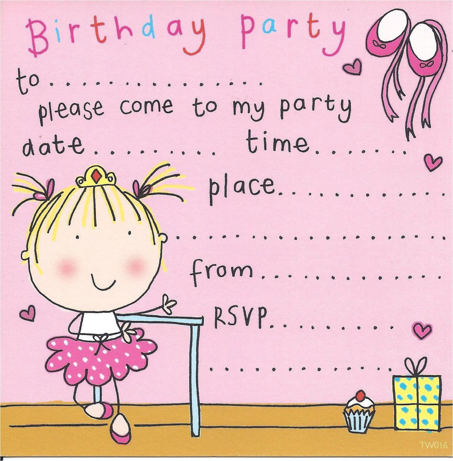 ballerina childrens party invitation 2 p