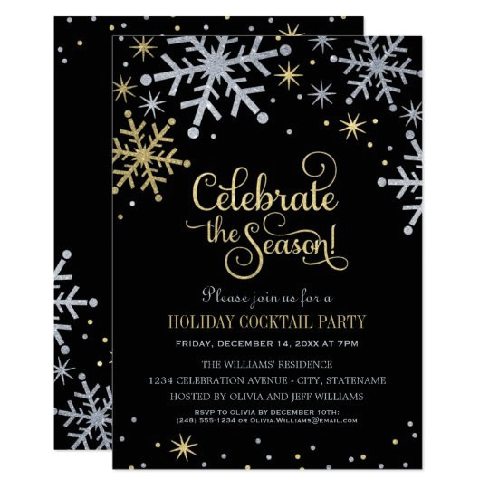 holiday party invitations silver and gold colors 161966438374845653