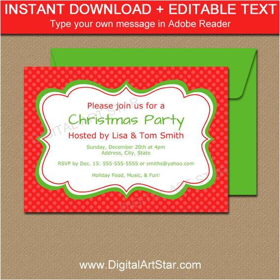editable christmas invitation holiday invitation printable