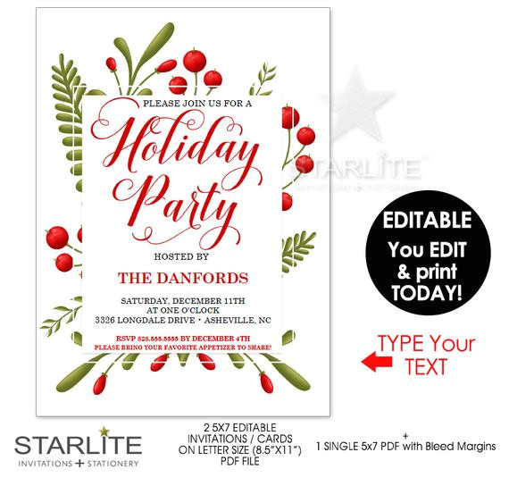 holiday party invitations instant