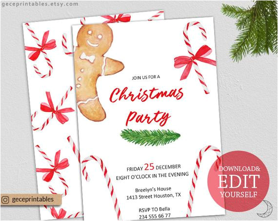 printable christmas invitation template editable pdf