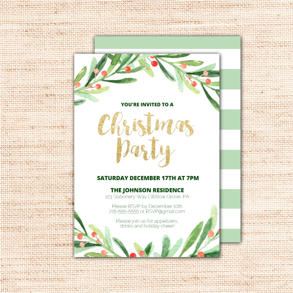 holly wreath printable christmas party