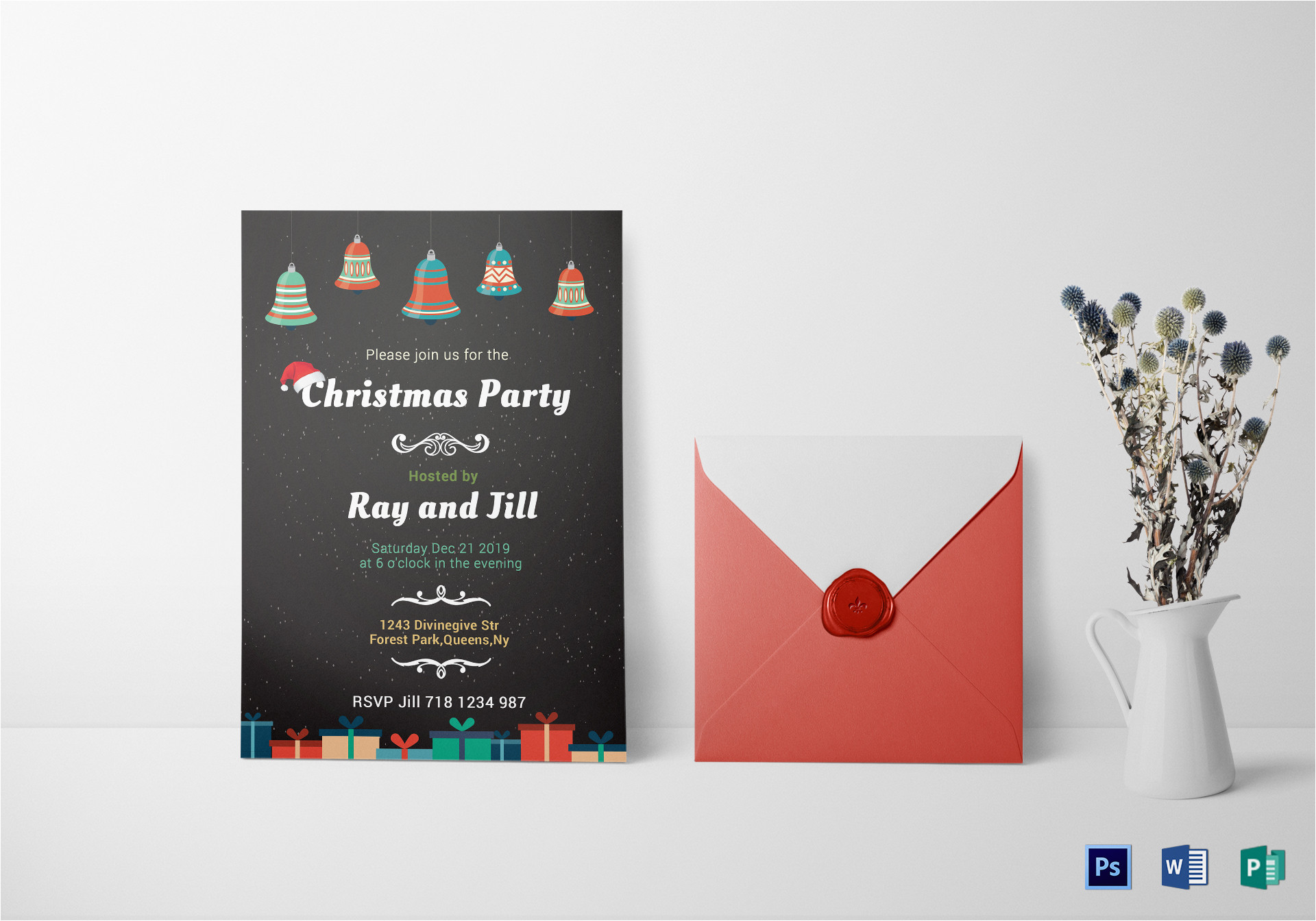 chalkboard christmas invitation card