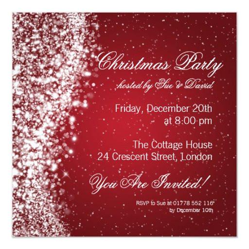 christmas party invitation elegant sparkle red 161540261332450216