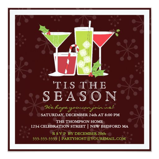 holly jolly christmas cocktail party invitation 161624293524702530