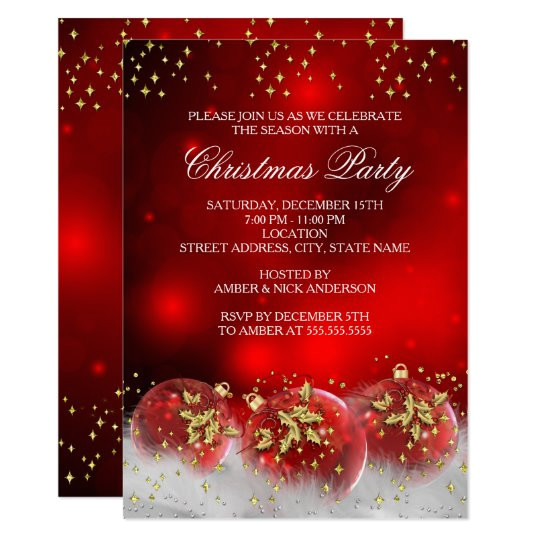 red gold holly baubles christmas holiday party invitation 256309955336473150