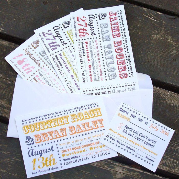 wedding invitations concert ticket style