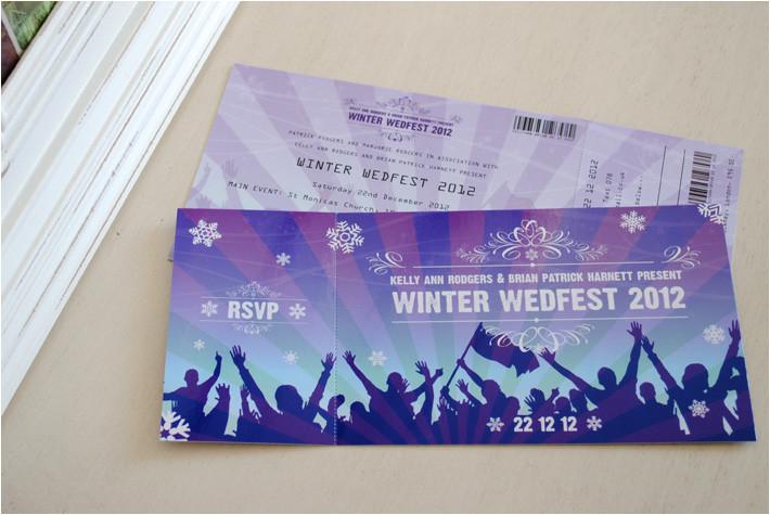 festival ticket themed wedding invitations