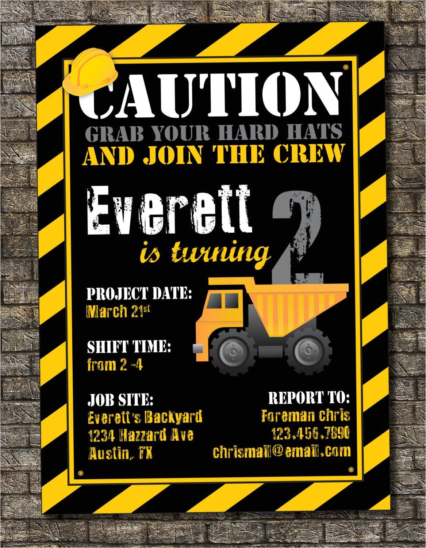 Construction Birthday Invitation Template Construction Zone Birthday Invitation by Purplelephantdesigns