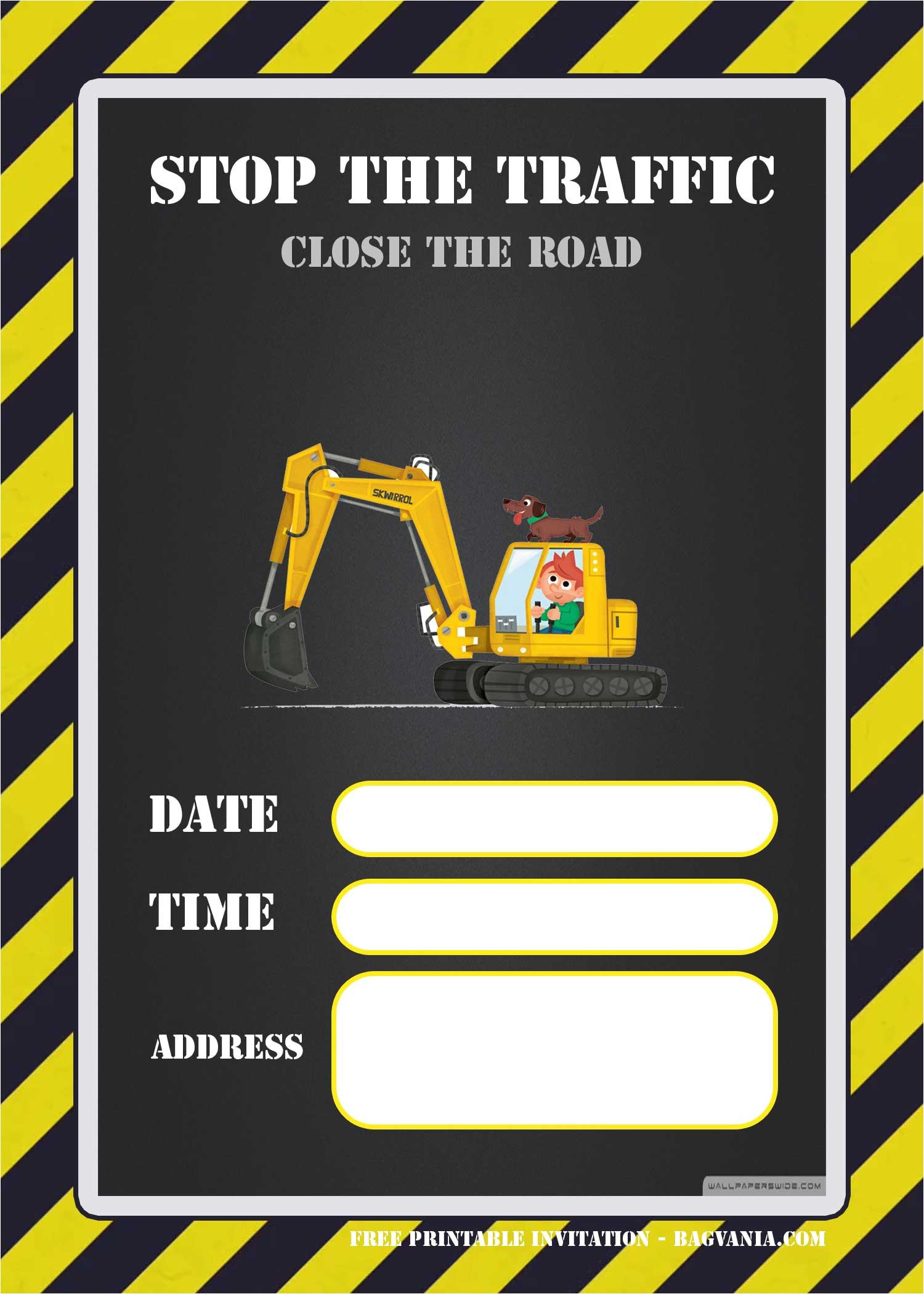 free printable construction invitation templates