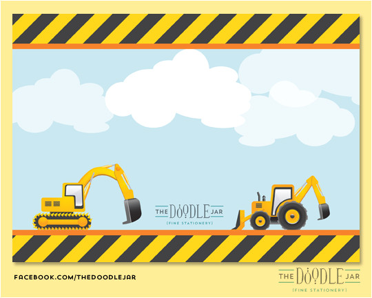 construction trucks birthday invitation