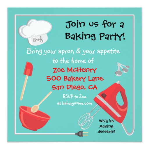baking or cooking party invitation card 161543687334867546