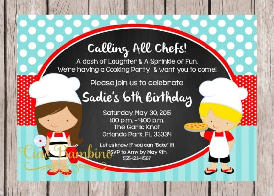 little chef birthday party invitations