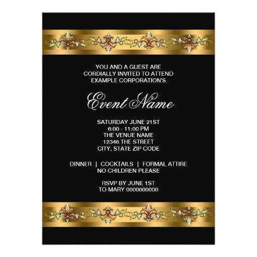 black and gold corporate party event template invitation 161874129428706564