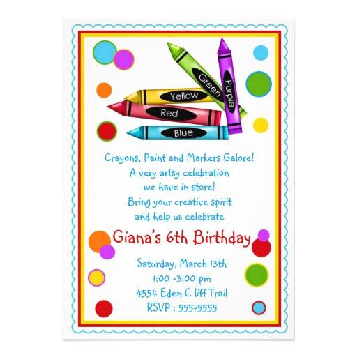 art party birthday invitations