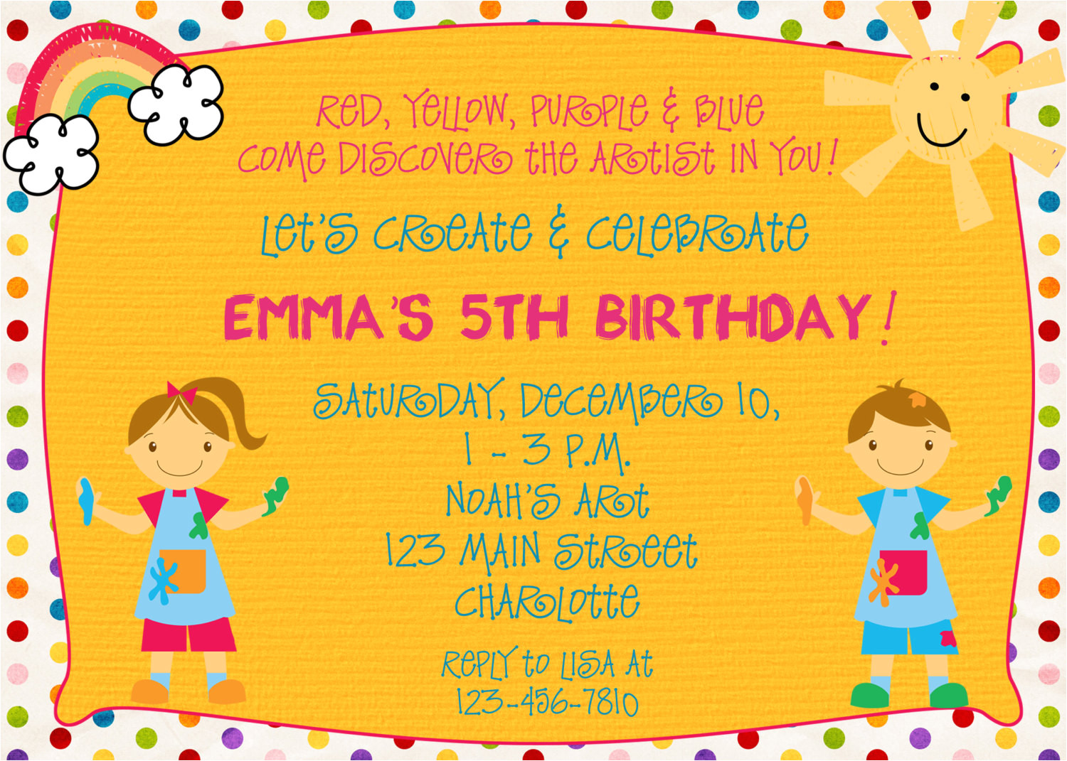 arts and crafts birthday party invitations