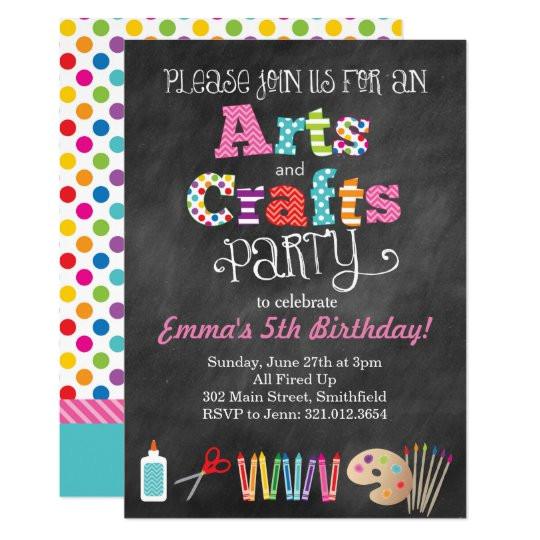 arts crafts party chalkboard style invitation 256649431507119709