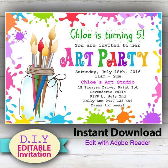 editable printable art party invitation