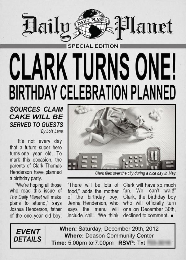 Daily Planet Birthday Invitation Template Clark Kent Birthday Party Design Dazzle