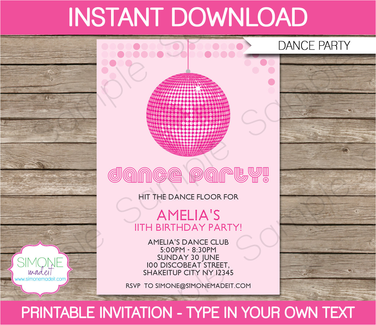 dance party invitation instant download