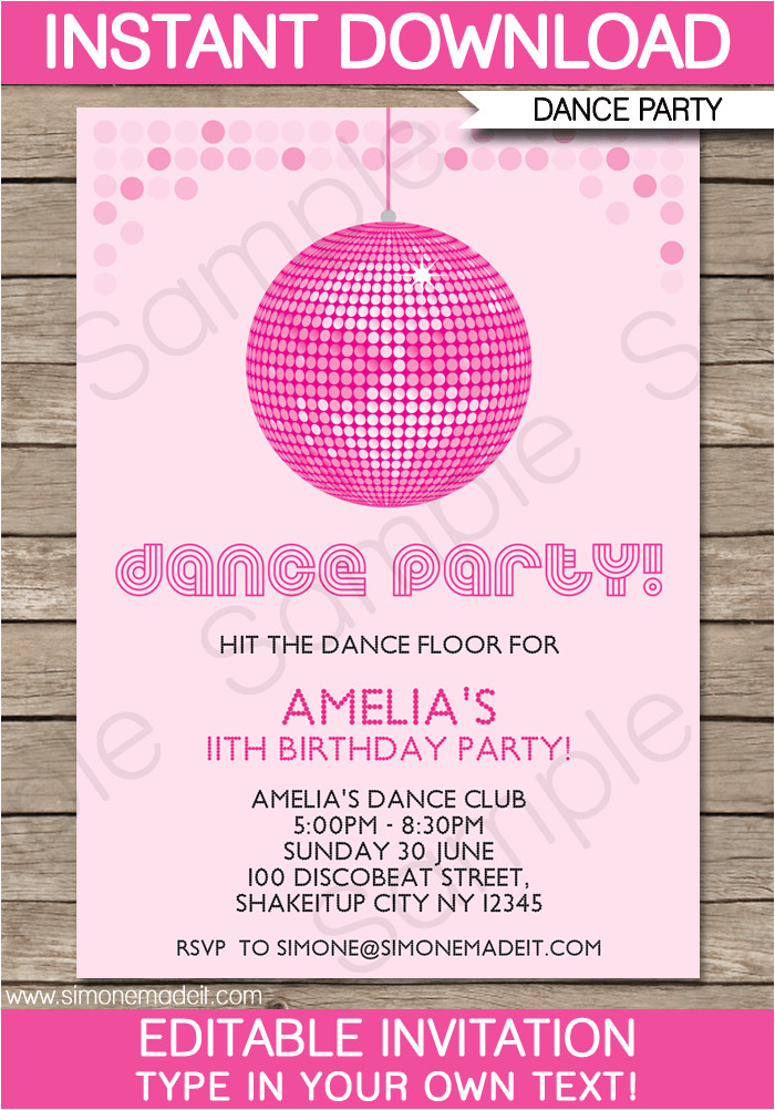 dance party invitations template birthday