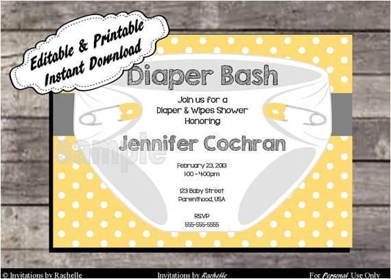 diaper party invitations printable