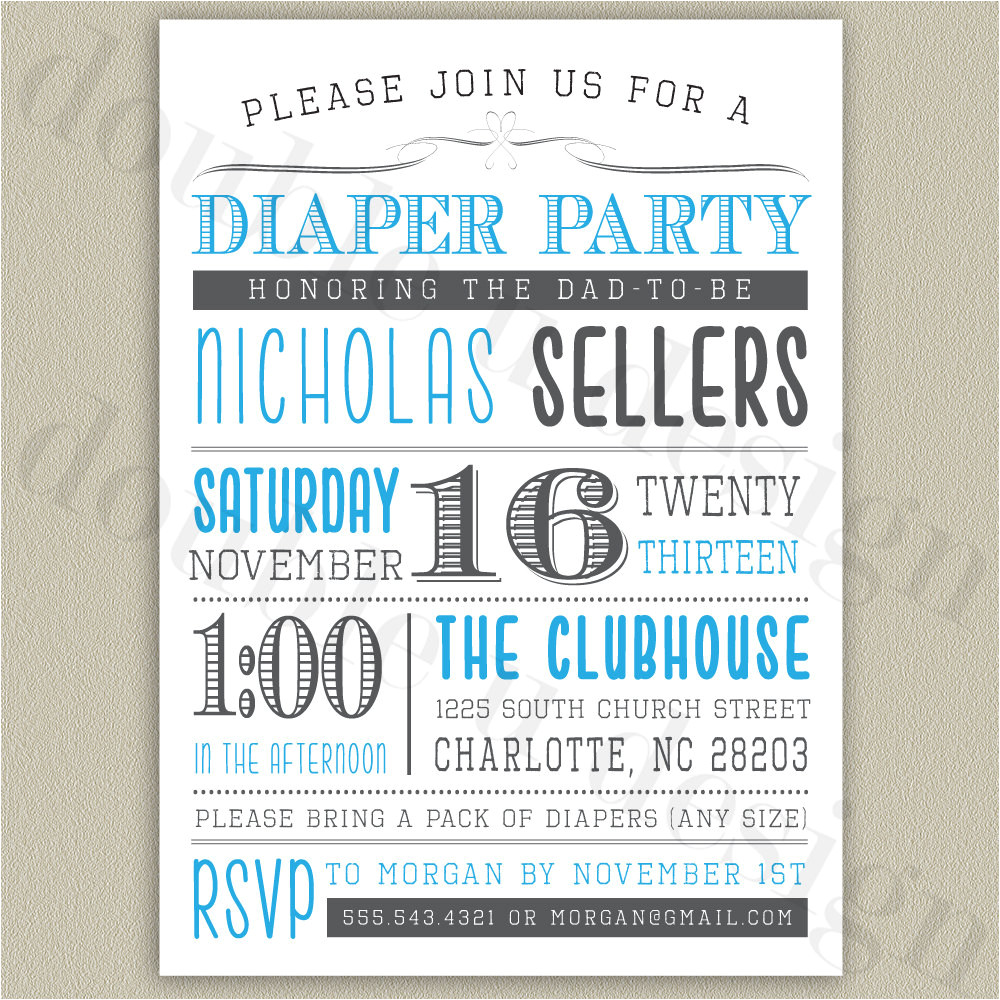 diaper party printable invitation with