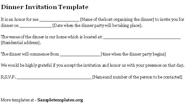 invitation letter for dinner