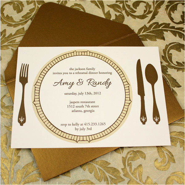 rehersal dinner invitation template golden plate