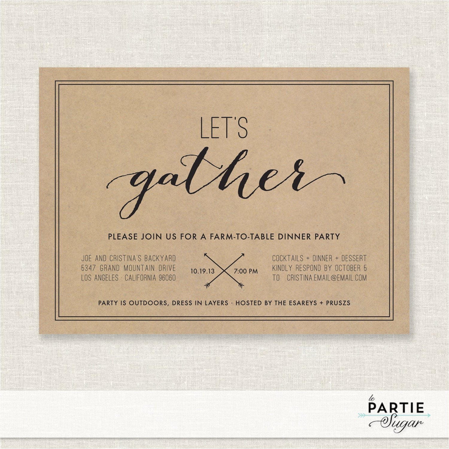 lets gather dinner party invitation