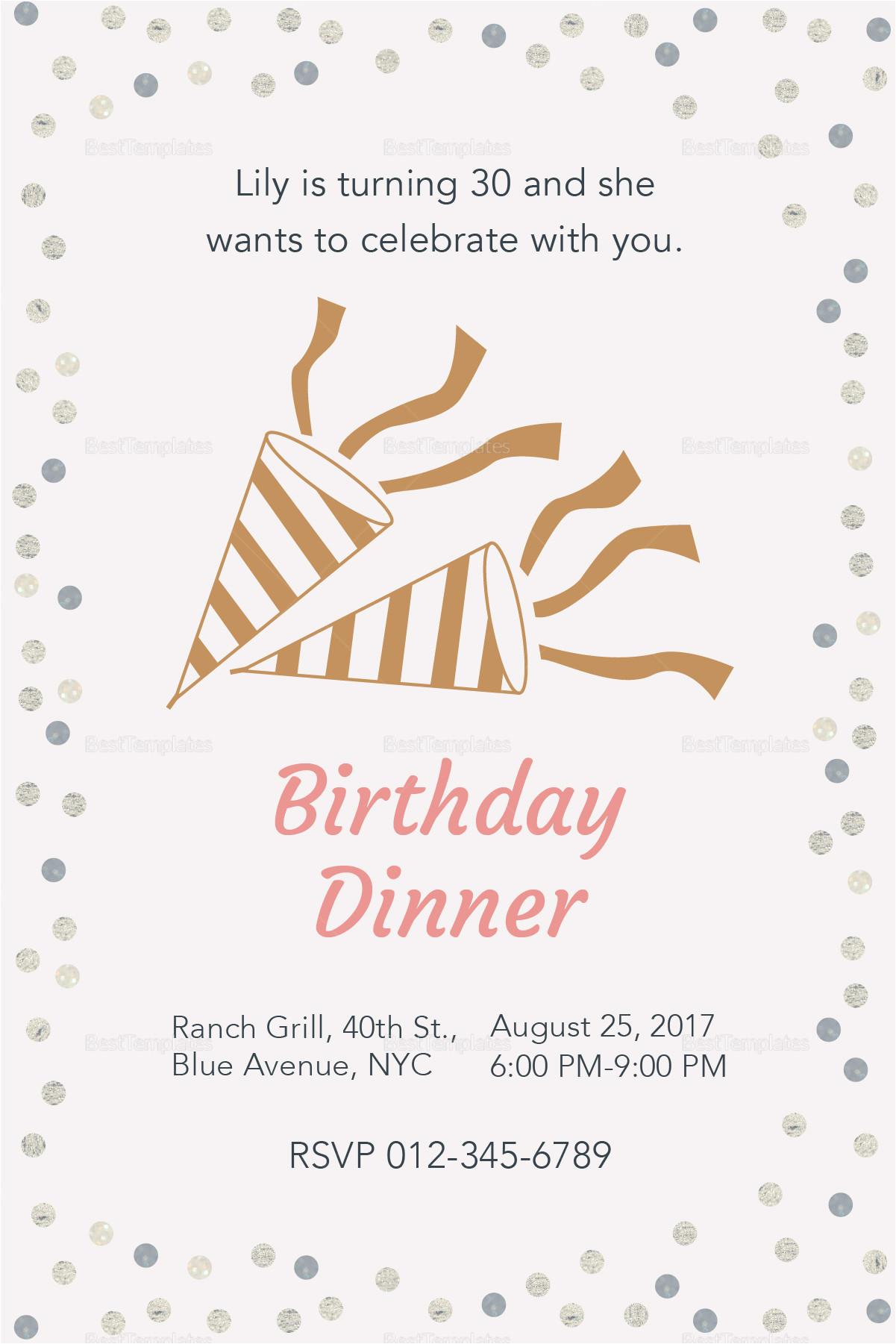 birthday dinner invitation