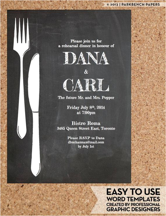 rehearsal dinner invitation chalkboard chic diy word template instant download printable