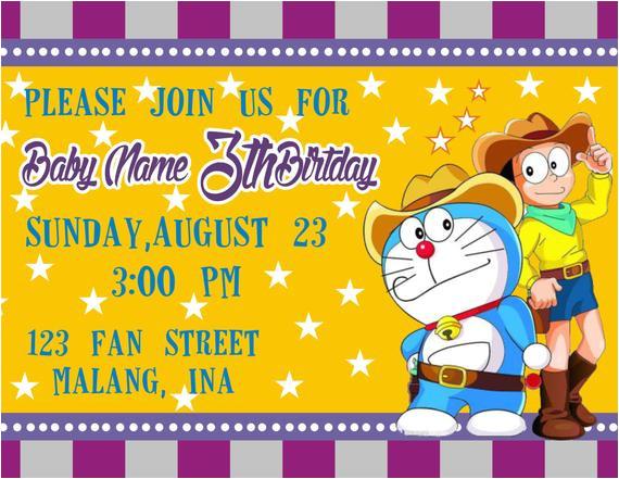 doraemon western birthday invitations